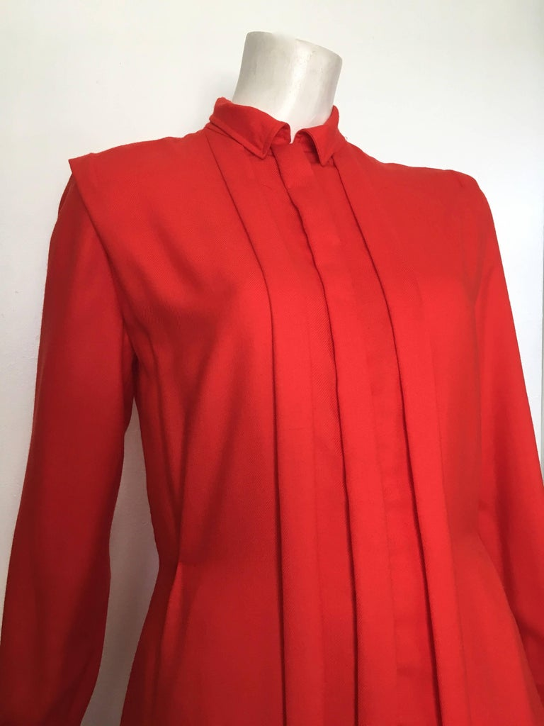 Courreges Red Wool Long Sleeve Dress with Pockets, 1980s  For Sale 7