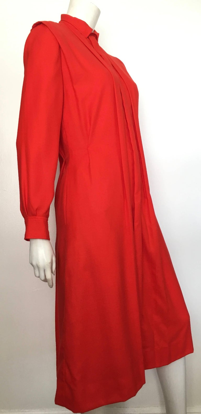 Courreges Red Wool Long Sleeve Dress with Pockets, 1980s  For Sale 8