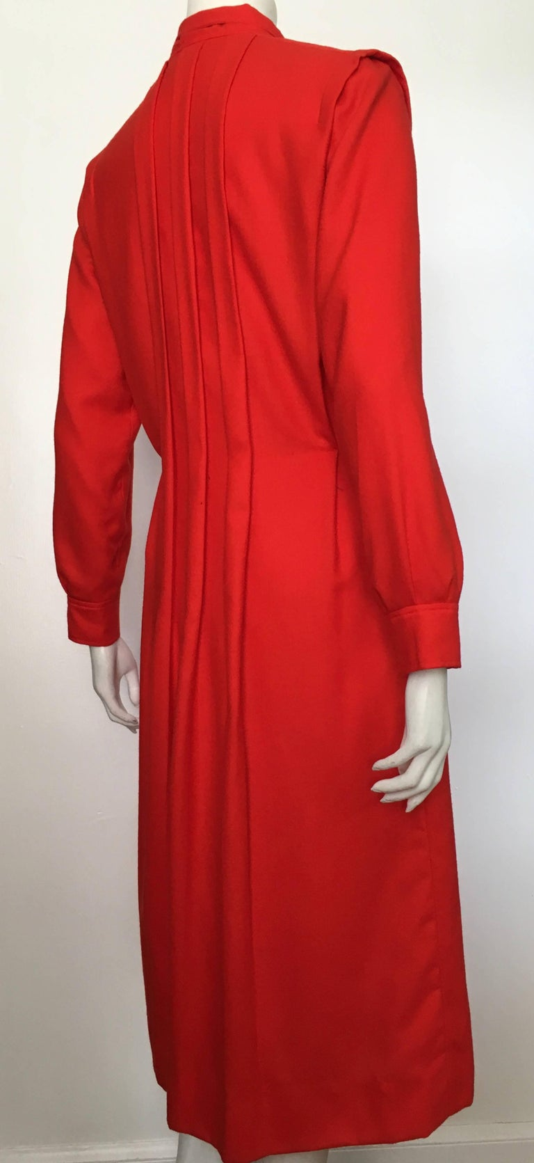 Courreges Red Wool Long Sleeve Dress with Pockets, 1980s  For Sale 10