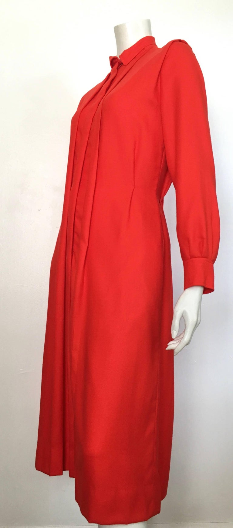 Courreges Red Wool Long Sleeve Dress with Pockets, 1980s  For Sale 11