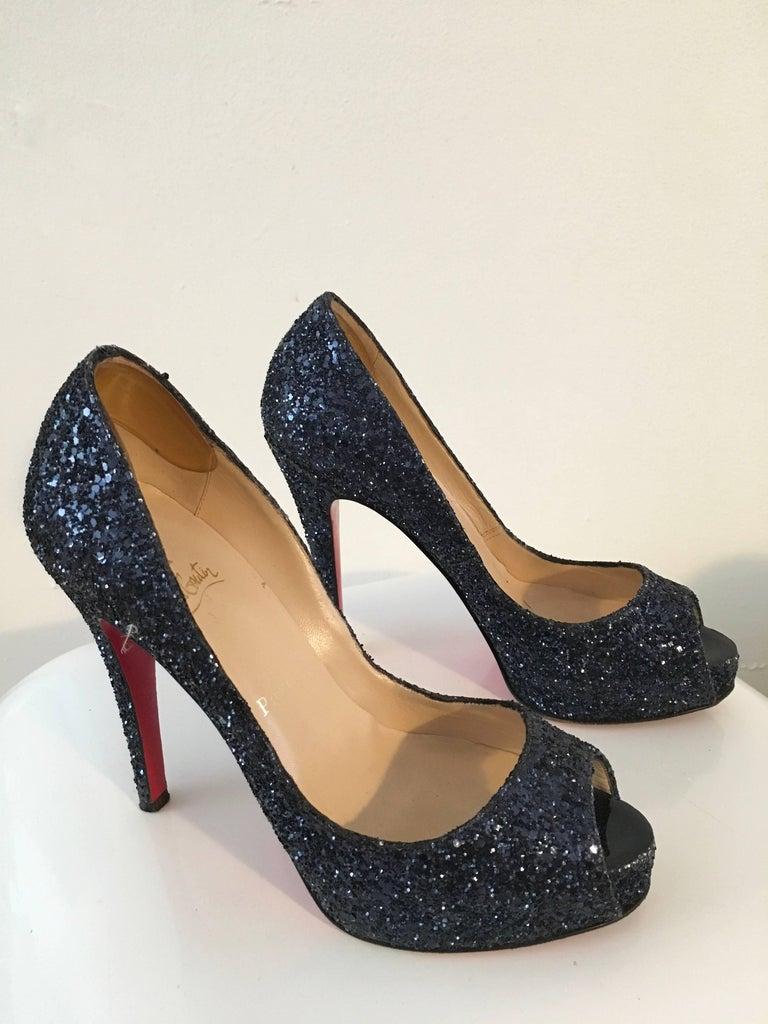 e964d44dc570 Louboutin Navy Glitter Peep Toe Platform High Heels Size 37. 1/2 In Good