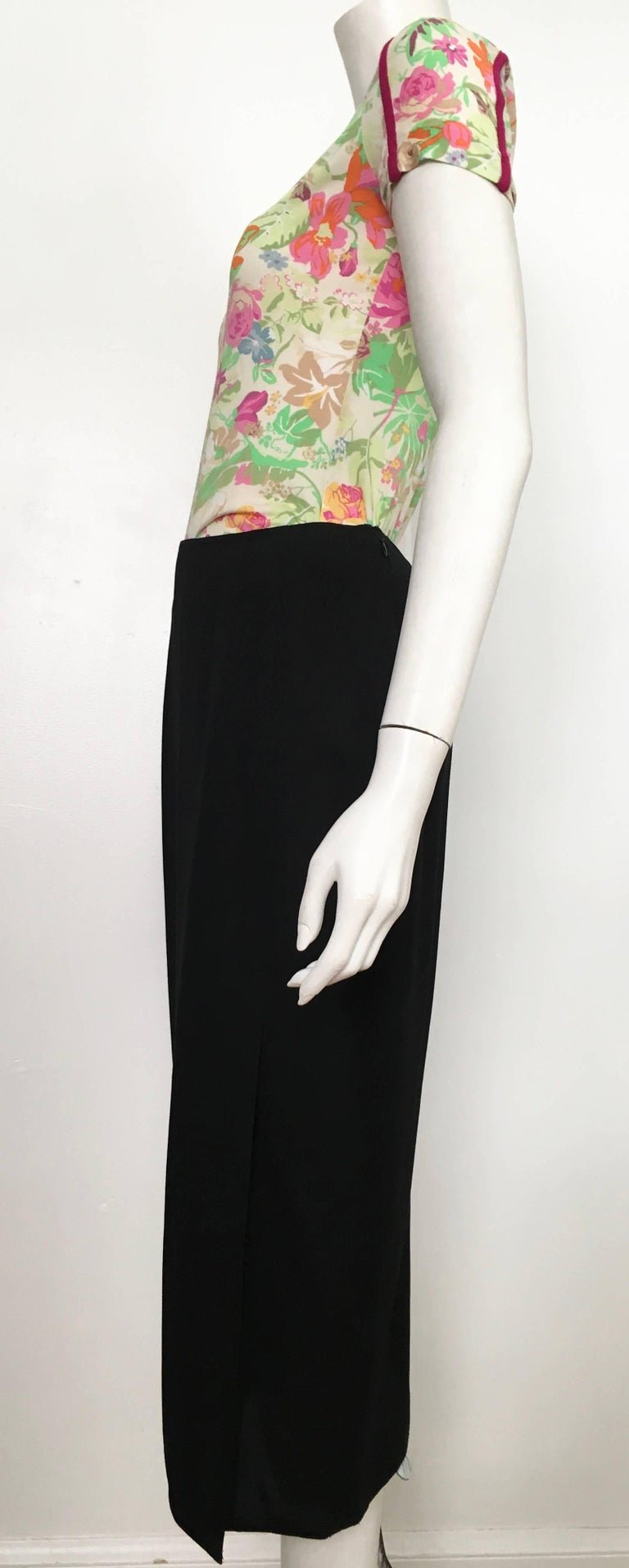Donna Karan 1990s Black Wool Long Skirt Made in Italy Size 6. For Sale 2