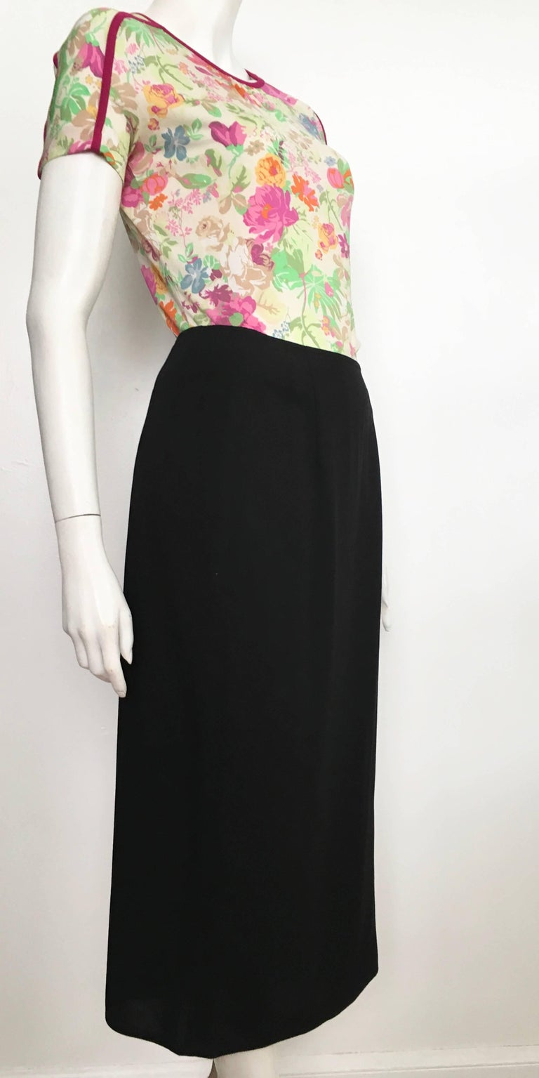 Donna Karan 1990s Black Wool Long Skirt Made in Italy Size 6. For Sale 3