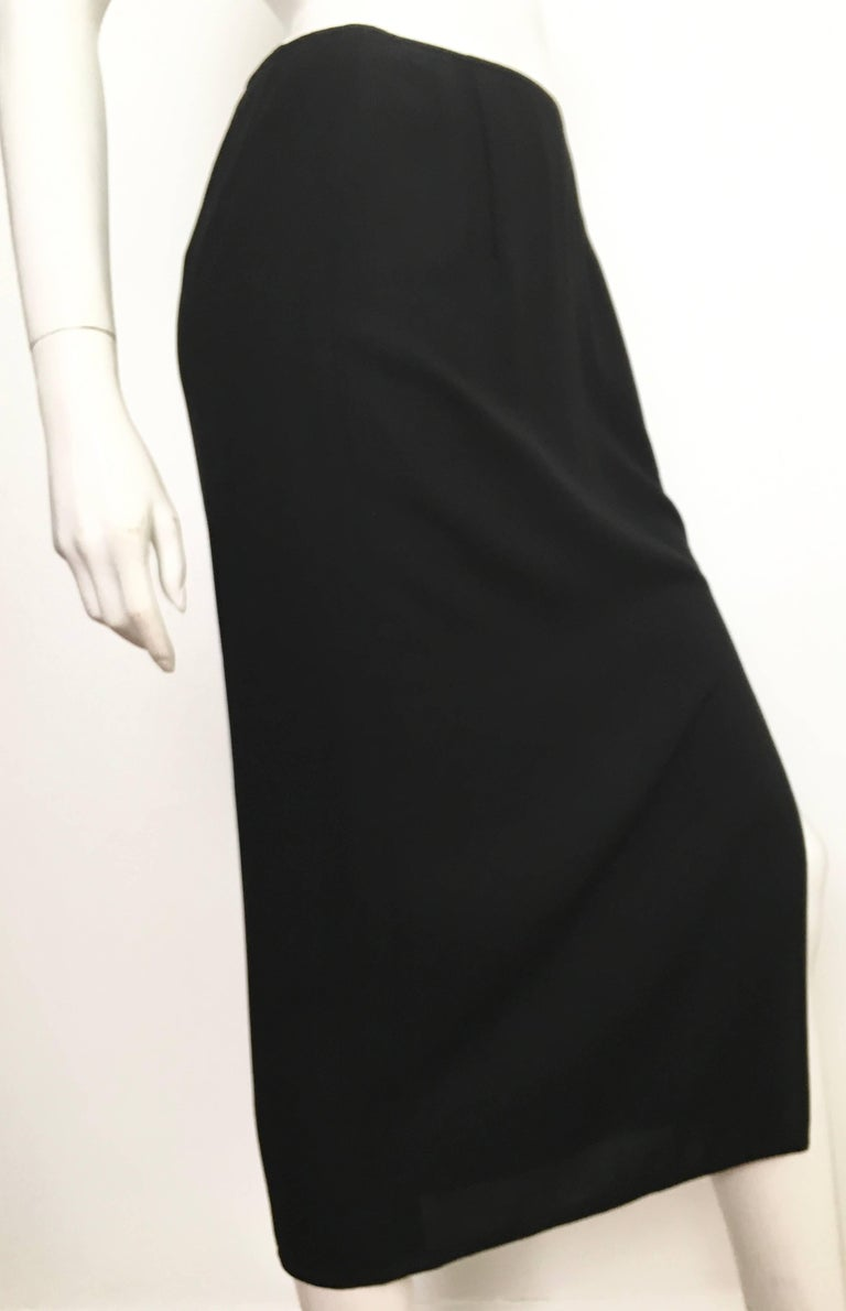 Donna Karan 1990s Black Wool Long Skirt Made in Italy Size 6. For Sale 4
