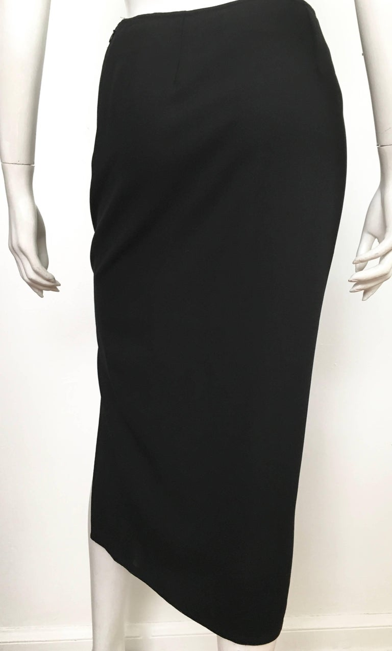 Donna Karan 1990s Black Wool Long Skirt Made in Italy Size 6. For Sale 5