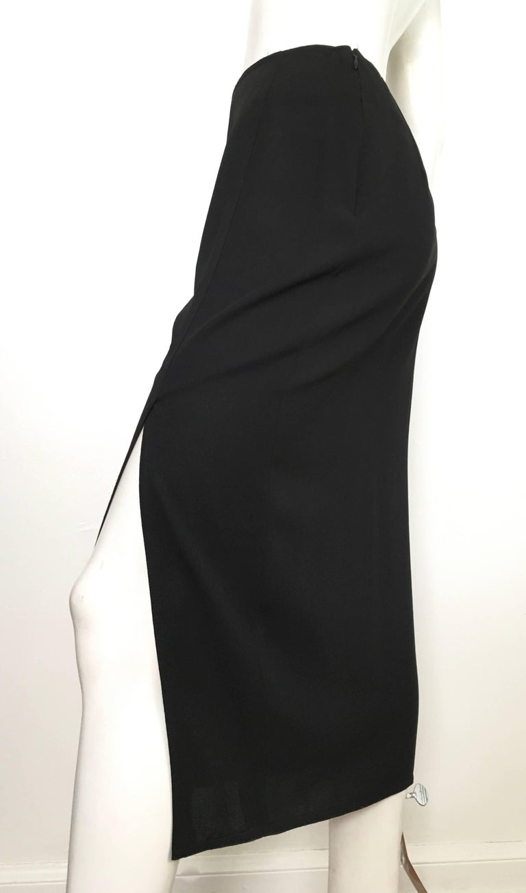Donna Karan 1990s Black Wool Long Skirt Made in Italy Size 6. For Sale 6