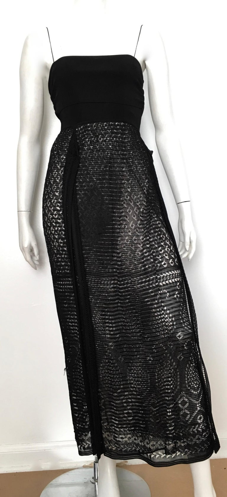 Missoni Lace Black and White Spaghetti Strap Maxi Dress For Sale 11