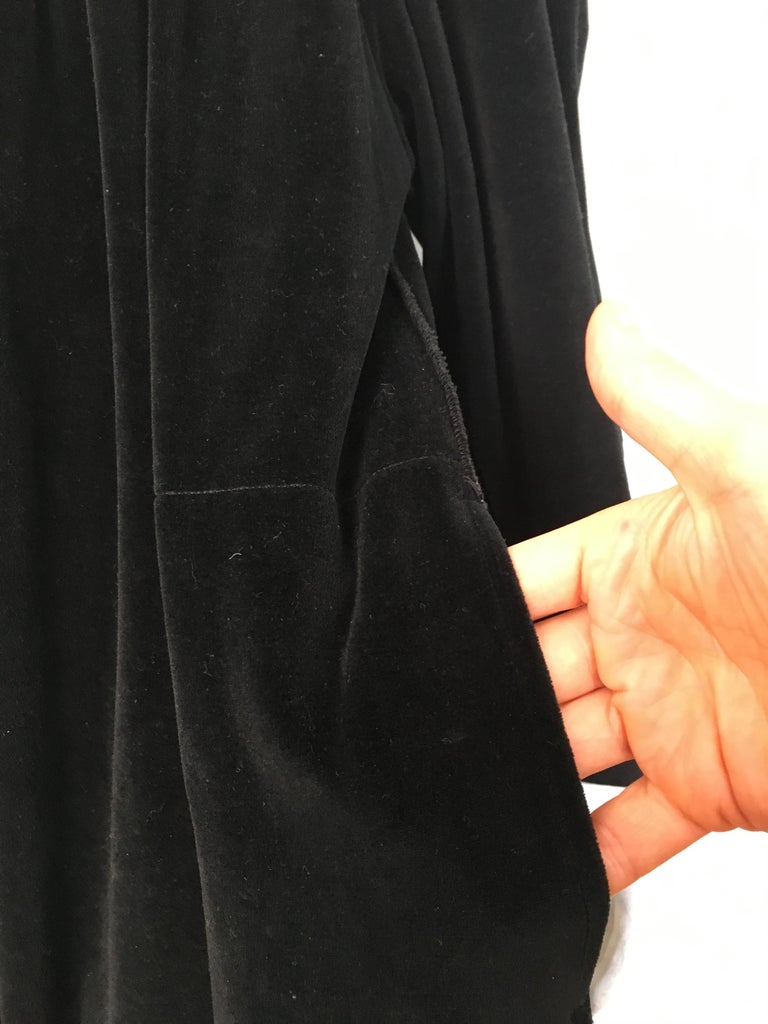 Women's or Men's Sonia Rykiel 1980s Black Velour Dress with Pockets & Cardigan Size Large. For Sale