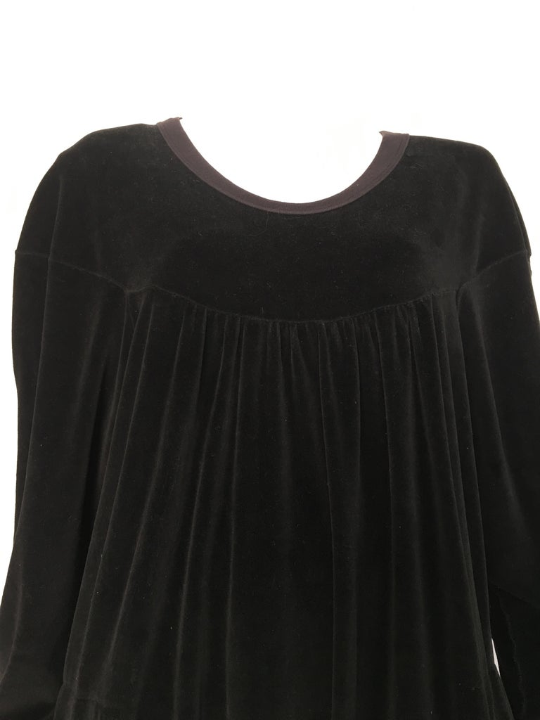 Sonia Rykiel 1980s Black Velour Dress with Pockets & Cardigan Size Large. For Sale 2