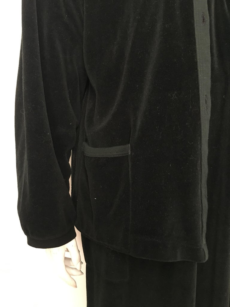 Sonia Rykiel 1980s Black Velour Dress with Pockets & Cardigan Size Large. For Sale 11