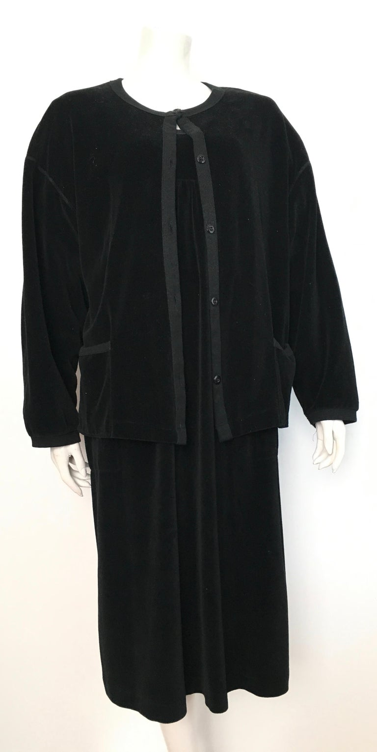 Sonia Rykiel 1980s Black Velour Dress with Pockets & Cardigan Size Large. For Sale 9