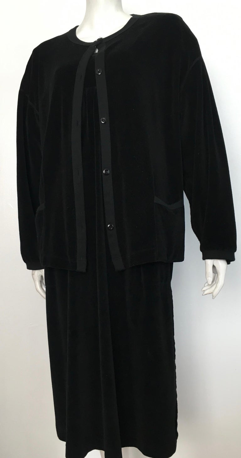 Sonia Rykiel 1980s Black Velour Dress with Pockets & Cardigan Size Large. For Sale 13