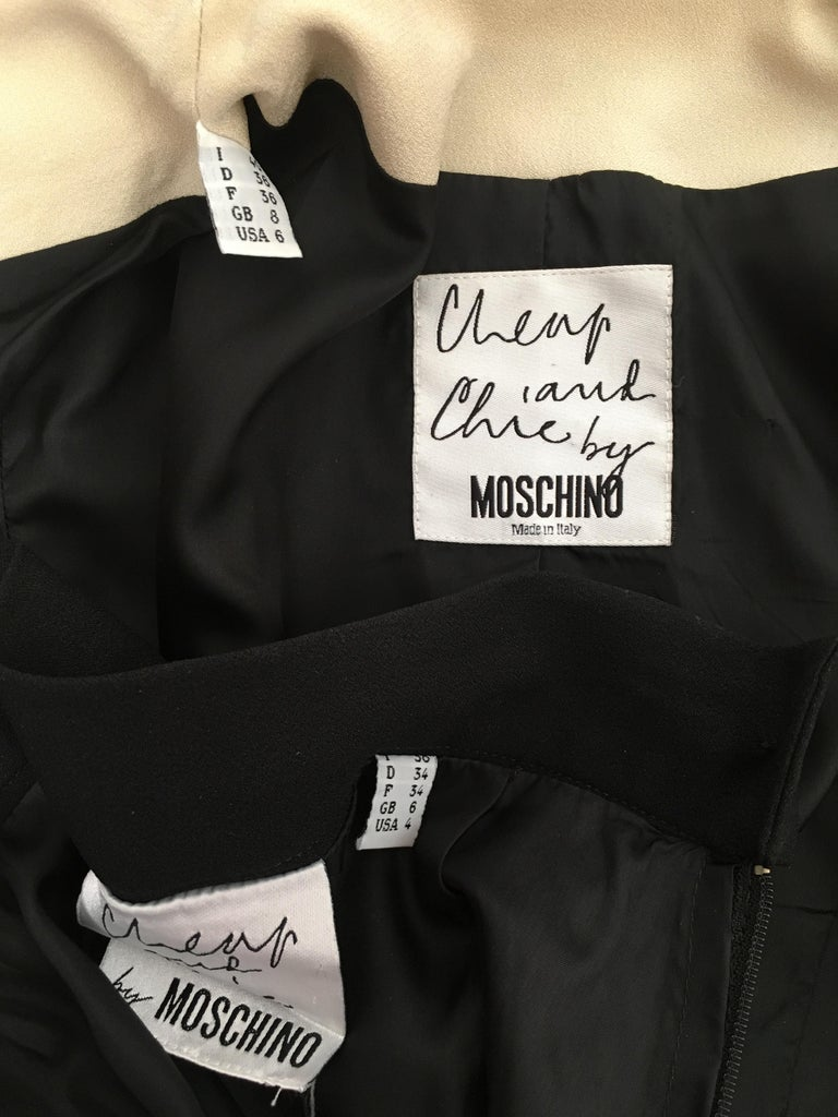 Moschino 1990s Black & Cream Jacket & Skirt Suit Size 4. For Sale 14