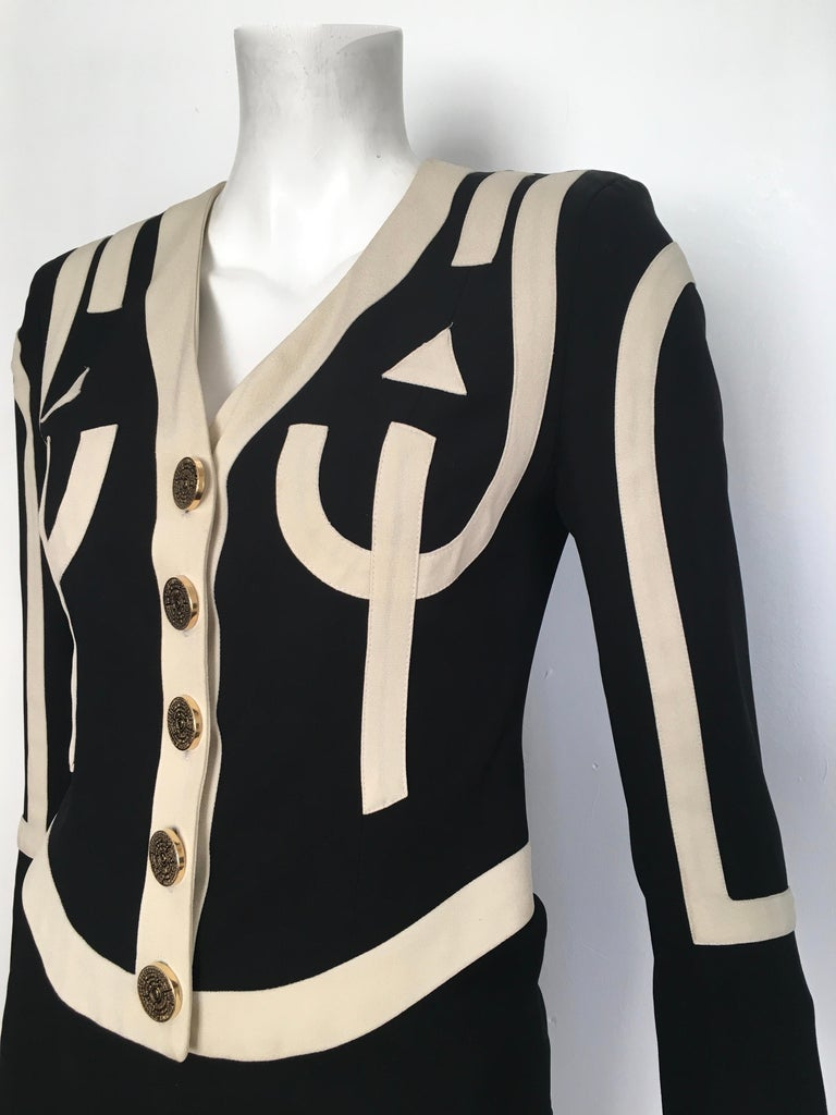 Women's or Men's Moschino 1990s Black & Cream Jacket & Skirt Suit Size 4. For Sale