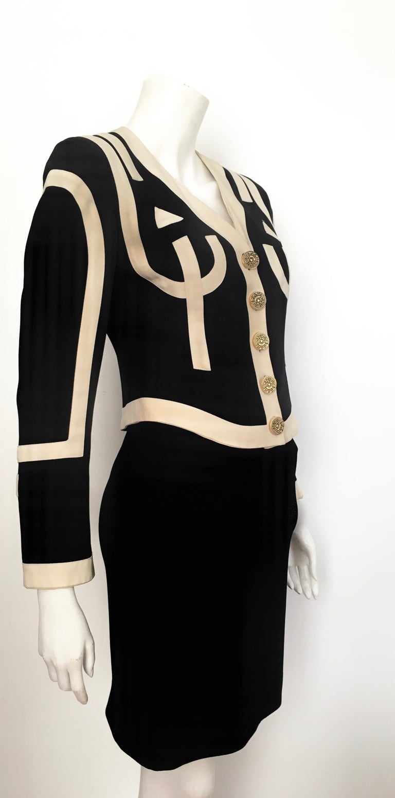Moschino 1990s Black & Cream Jacket & Skirt Suit Size 4. For Sale 3