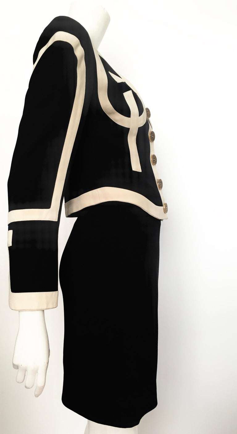 Moschino 1990s Black & Cream Jacket & Skirt Suit Size 4. For Sale 4