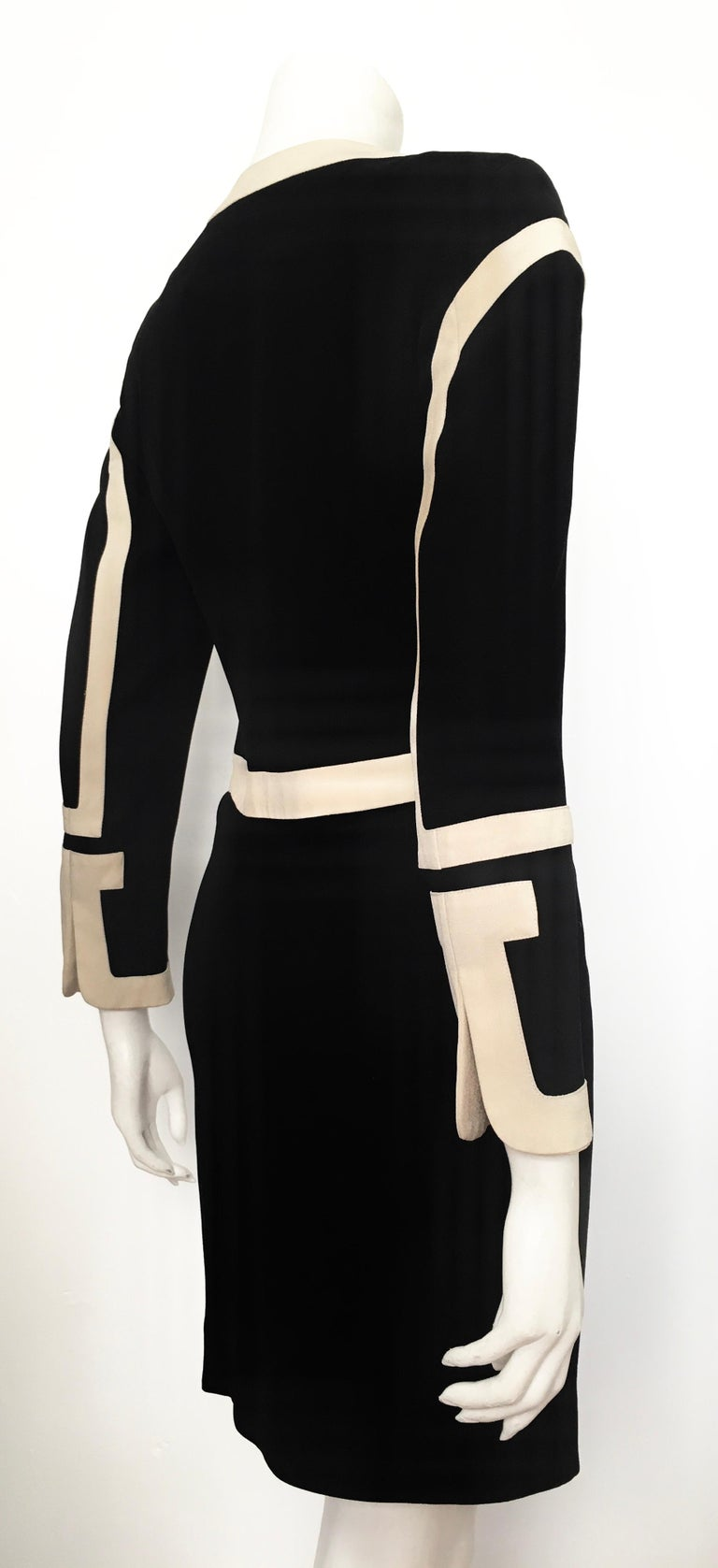 Moschino 1990s Black & Cream Jacket & Skirt Suit Size 4. For Sale 5