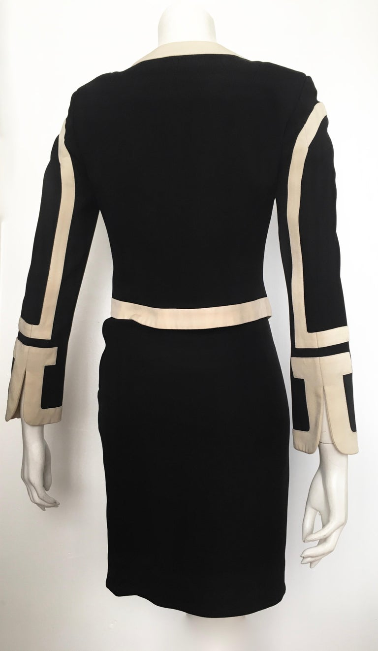 Moschino 1990s Black & Cream Jacket & Skirt Suit Size 4. For Sale 6