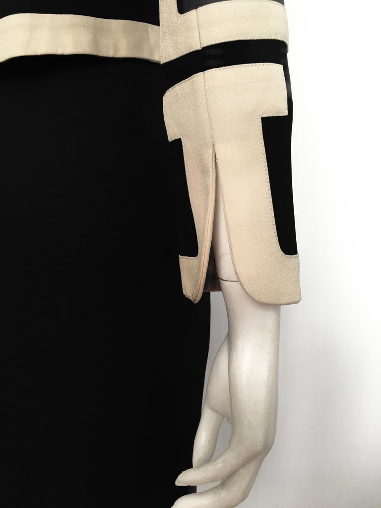 Moschino 1990s Black & Cream Jacket & Skirt Suit Size 4. For Sale 7