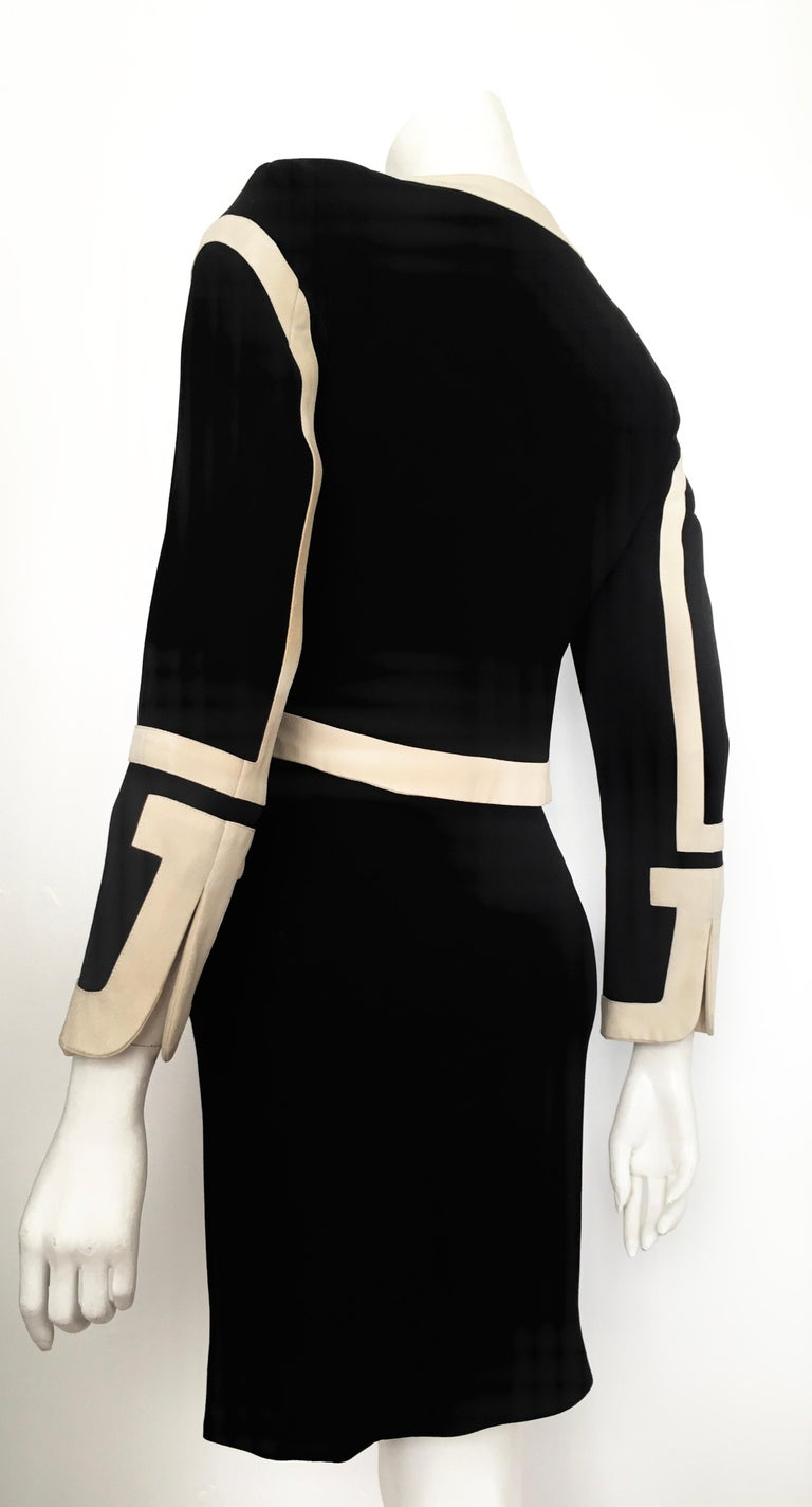 Moschino 1990s Black & Cream Jacket & Skirt Suit Size 4. For Sale 8