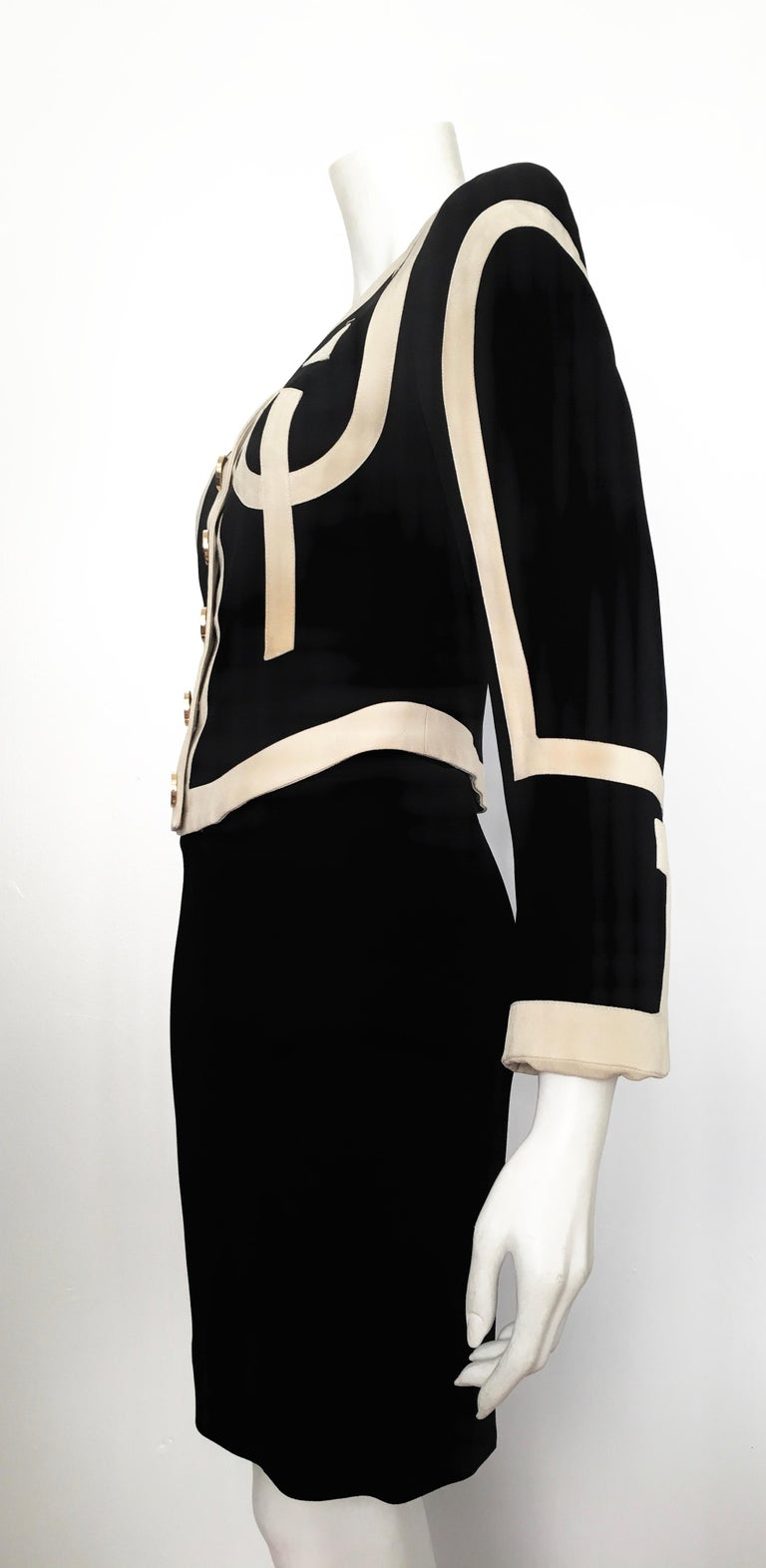 Moschino 1990s Black & Cream Jacket & Skirt Suit Size 4. For Sale 9