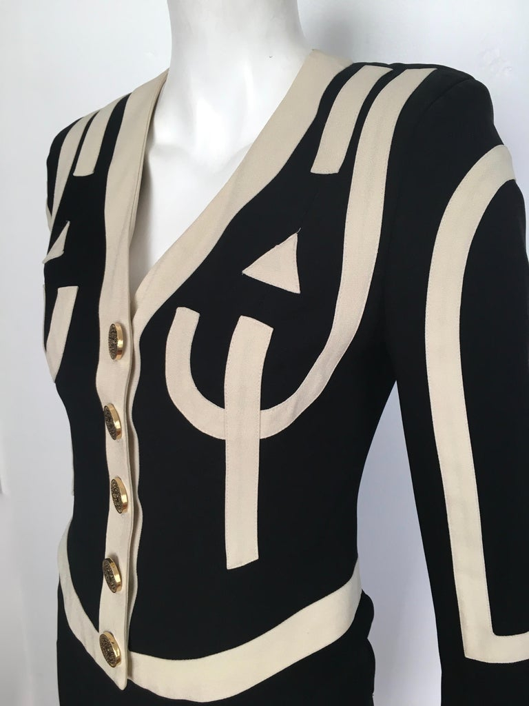 Moschino 1990s Black & Cream Jacket & Skirt Suit Size 4. For Sale 10