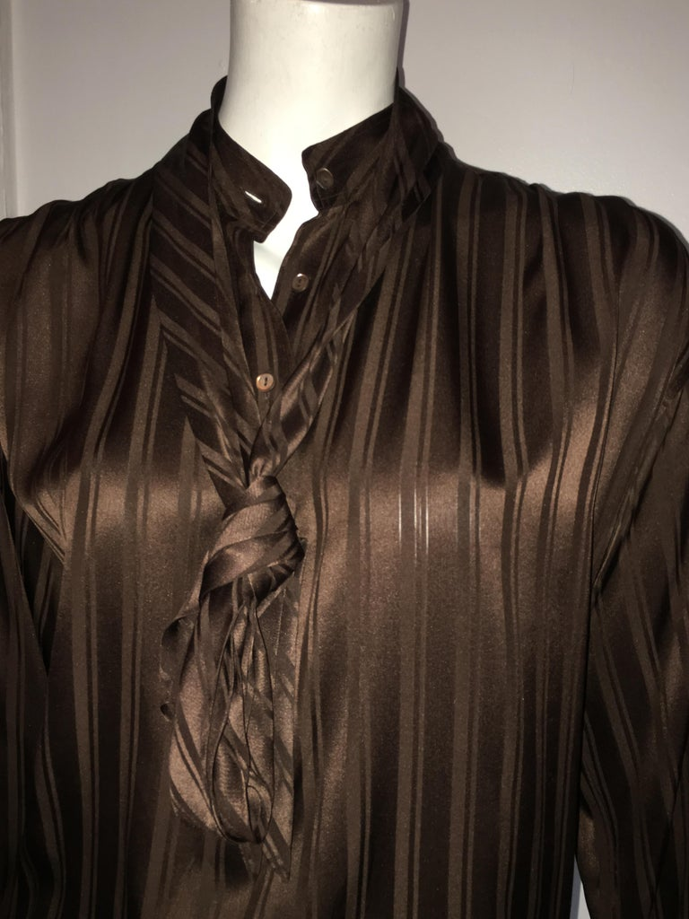 Yves Saint Laurent Rive Gauche 1970s Brown Silk Blouse with Tie Size Large.  For Sale 9
