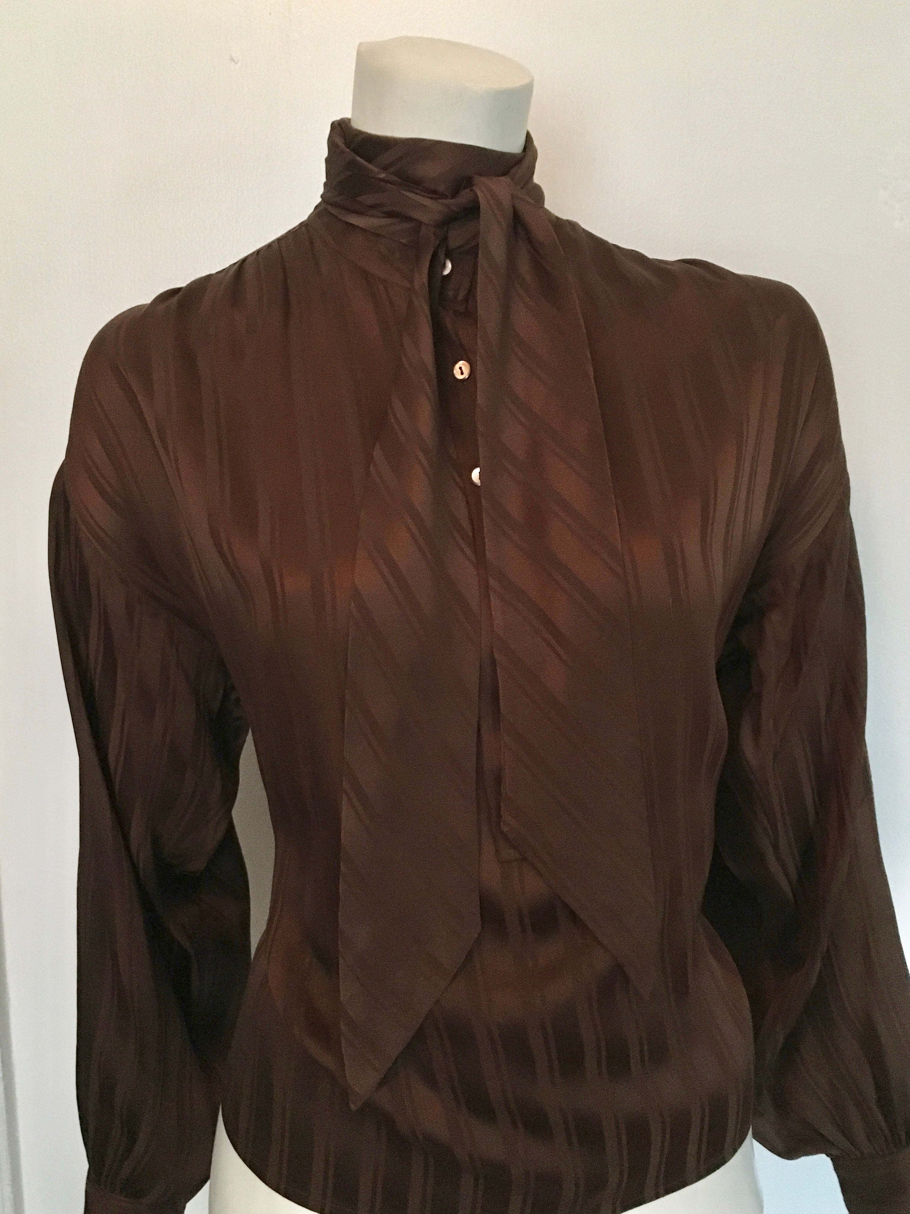 2c12c5af88a53d Yves Saint Laurent Rive Gauche 1970s Brown Silk Blouse with Tie Size Large.  For Sale at 1stdibs