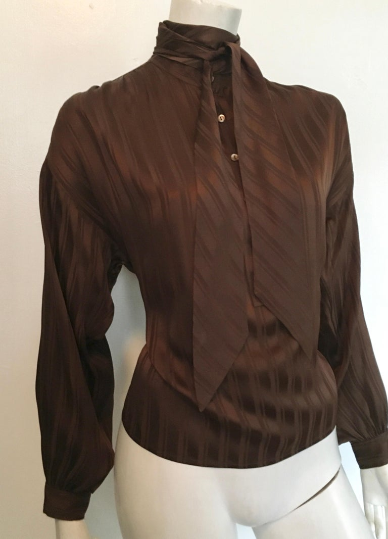 Black Yves Saint Laurent Rive Gauche 1970s Brown Silk Blouse with Tie Size Large.  For Sale