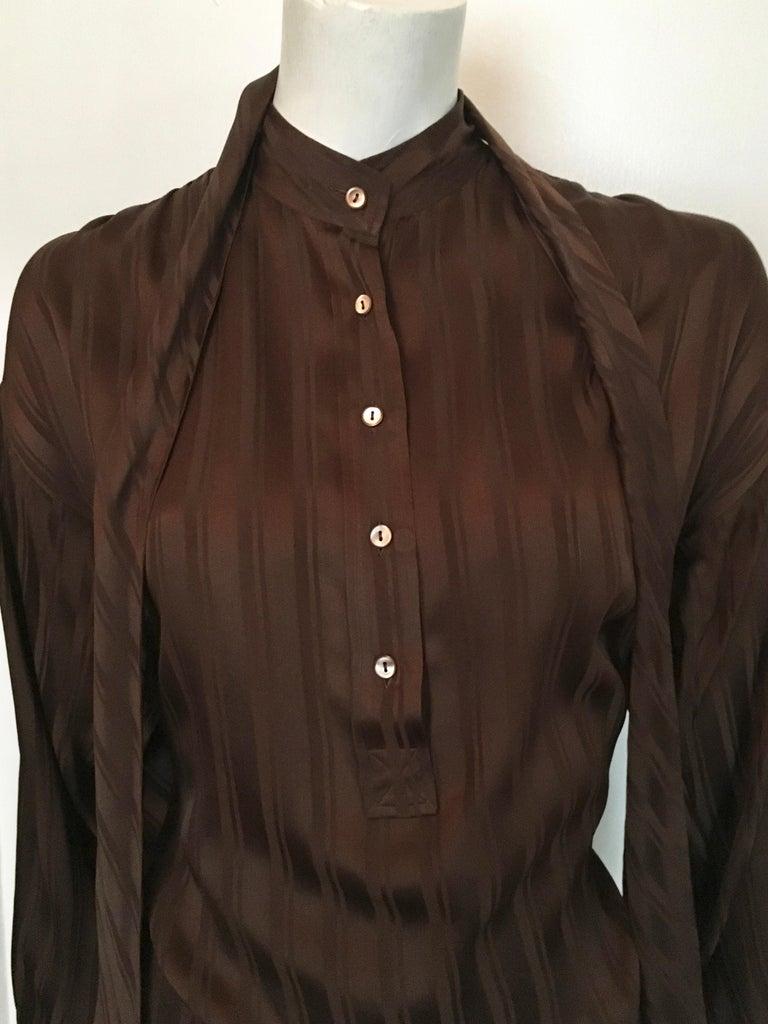 Yves Saint Laurent Rive Gauche 1970s Brown Silk Blouse with Tie Size Large.  In Good Condition For Sale In Atlanta, GA