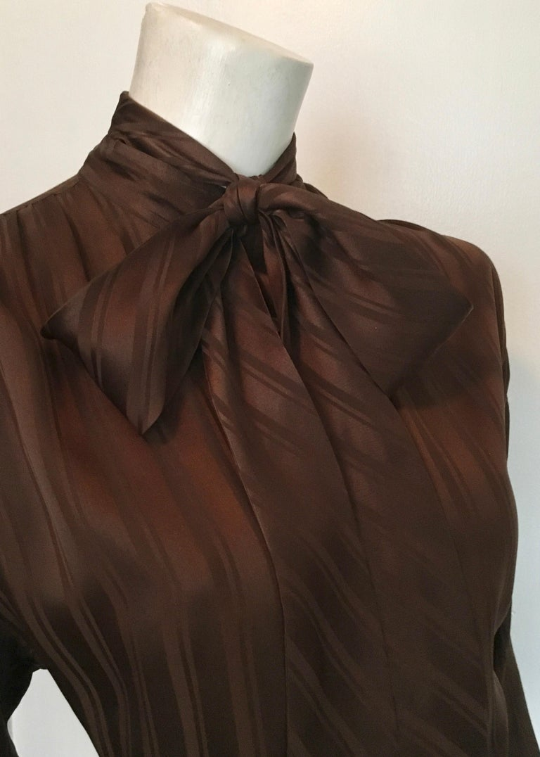 Women's or Men's Yves Saint Laurent Rive Gauche 1970s Brown Silk Blouse with Tie Size Large.  For Sale