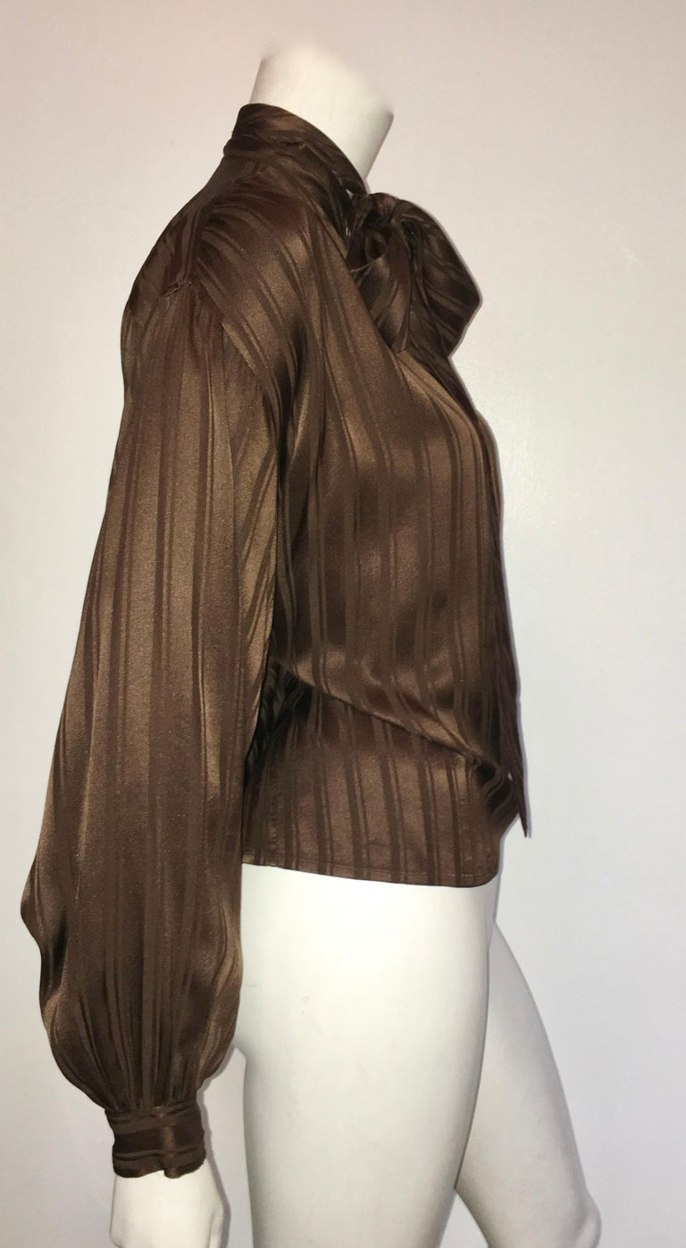 Yves Saint Laurent Rive Gauche 1970s Brown Silk Blouse with Tie Size Large.  For Sale 1