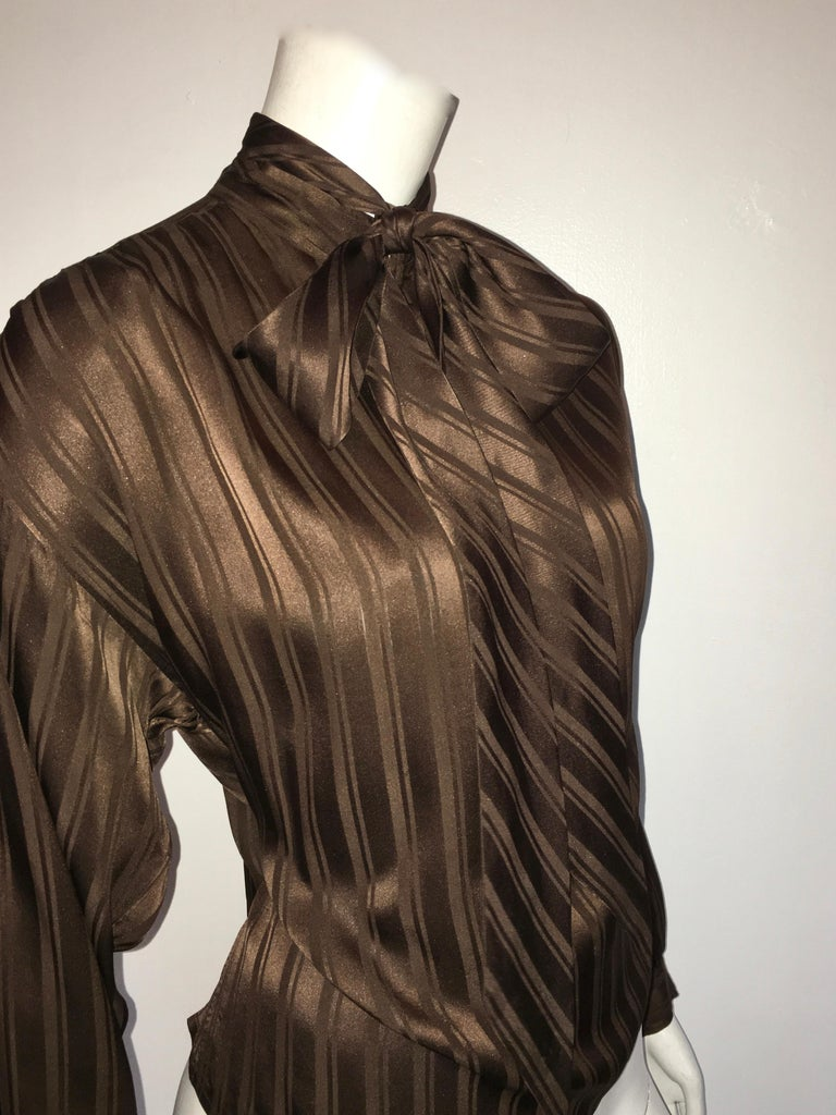 Yves Saint Laurent Rive Gauche 1970s Brown Silk Blouse with Tie Size Large.  For Sale 2