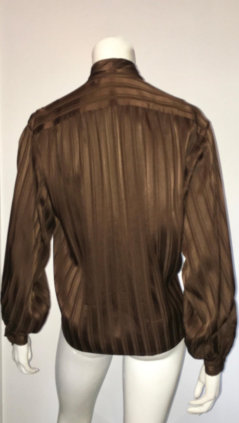 Yves Saint Laurent Rive Gauche 1970s Brown Silk Blouse with Tie Size Large.  For Sale 3