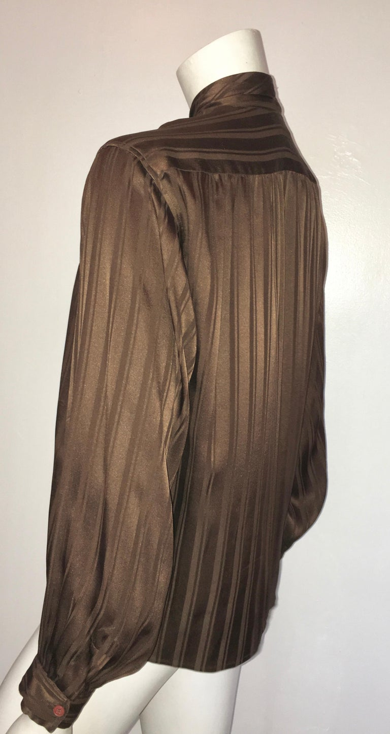 Yves Saint Laurent Rive Gauche 1970s Brown Silk Blouse with Tie Size Large.  For Sale 4