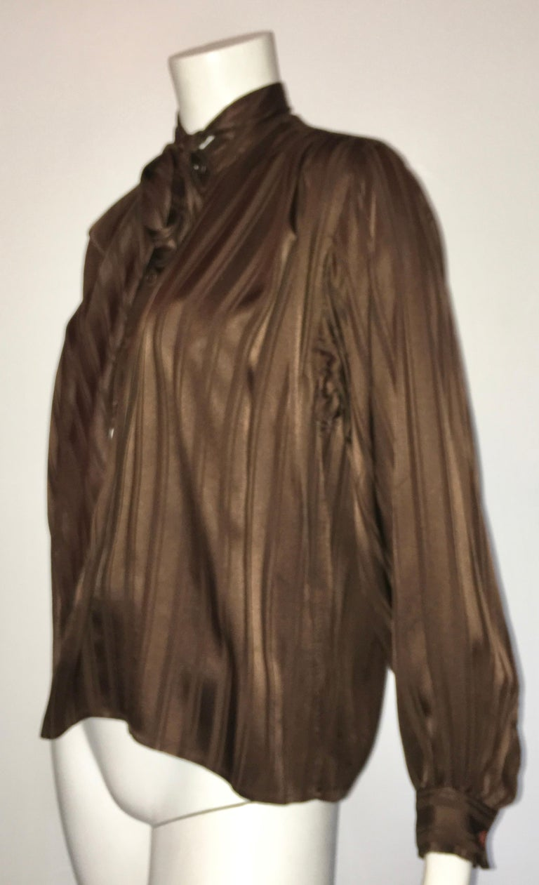 Yves Saint Laurent Rive Gauche 1970s Brown Silk Blouse with Tie Size Large.  For Sale 5