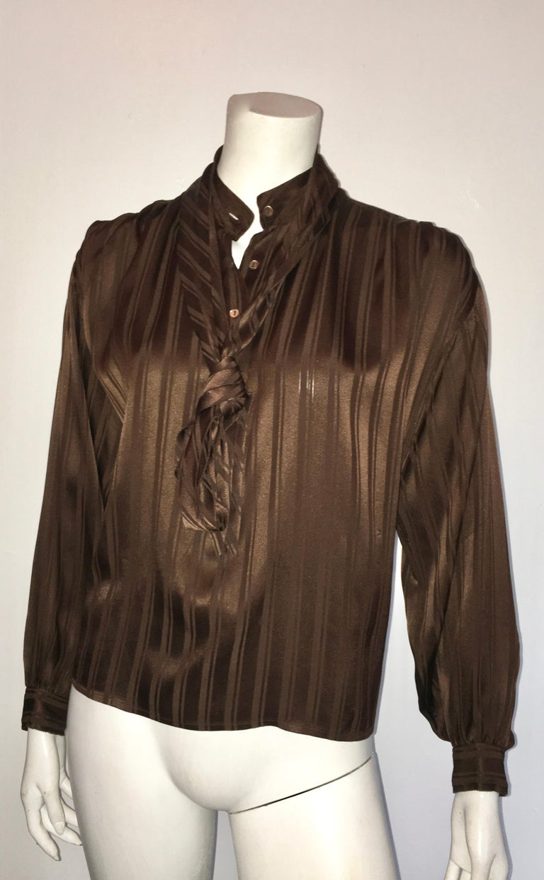 Yves Saint Laurent Rive Gauche 1970s Brown Silk Blouse with Tie Size Large.  For Sale 7