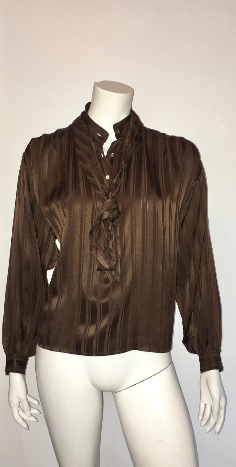 Yves Saint Laurent Rive Gauche 1970s Brown Silk Blouse with Tie Size Large.  For Sale 8