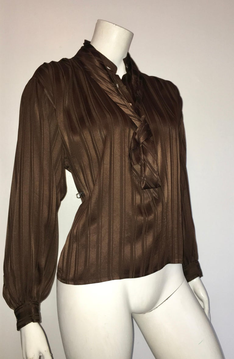 Yves Saint Laurent Rive Gauche 1970s Brown Silk Blouse with Tie Size Large.  For Sale 10