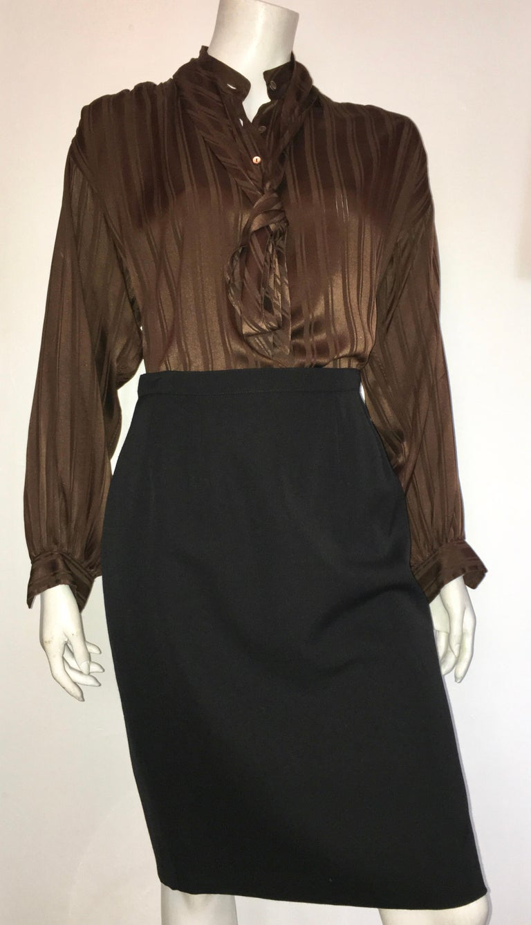 Yves Saint Laurent Rive Gauche 1970s Brown Silk Blouse with Tie Size Large.  For Sale 11