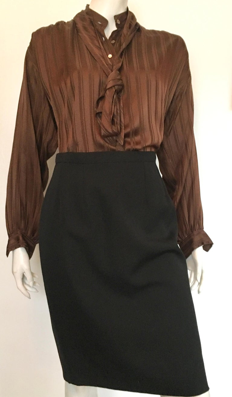 Yves Saint Laurent Rive Gauche 1970s Brown Silk Blouse with Tie Size Large.  For Sale 12