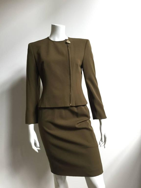 Genny by Versace Olive Skirt Suit Size 4  9