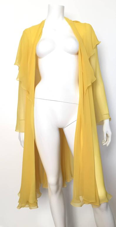 Loris Azzaro Yellow Silk Sheer Jacket Size 2 / 4. 7