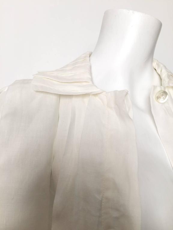 Laura Biagiotti for Bonwit Teller 80s white linen dress size 4 / 6.  For Sale 2