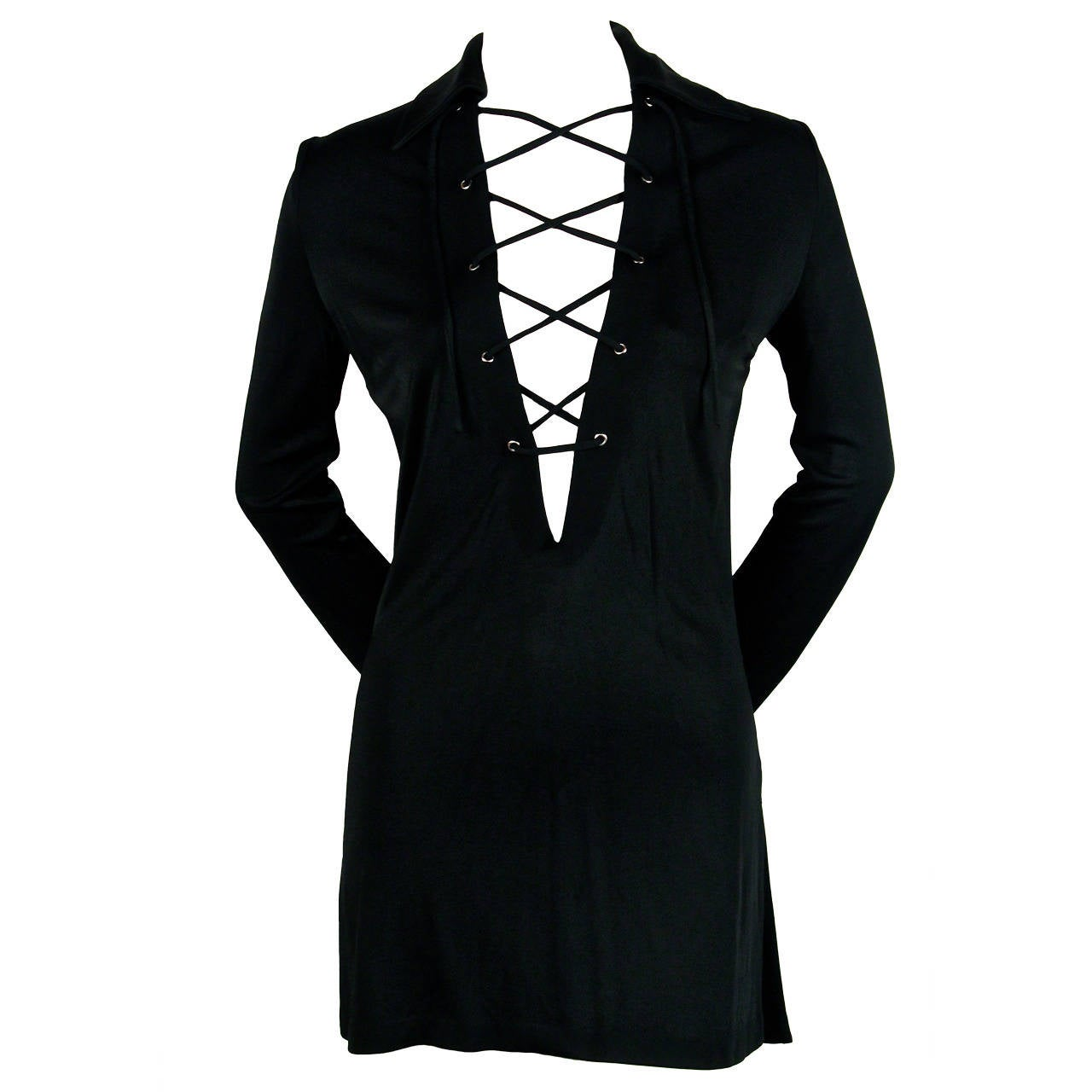 1996 TOM FORD for GUCCI black lace up mini dress 1