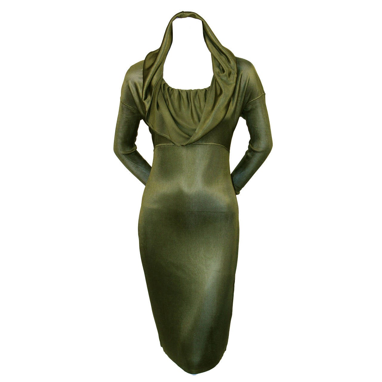 1986 AZZEDINE ALAIA olive viscose hooded dress For Sale