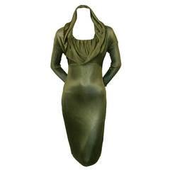 1986 AZZEDINE ALAIA olive viscose hooded dress