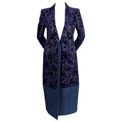 CELINE by Phoebe Philo navy floral flocked coat