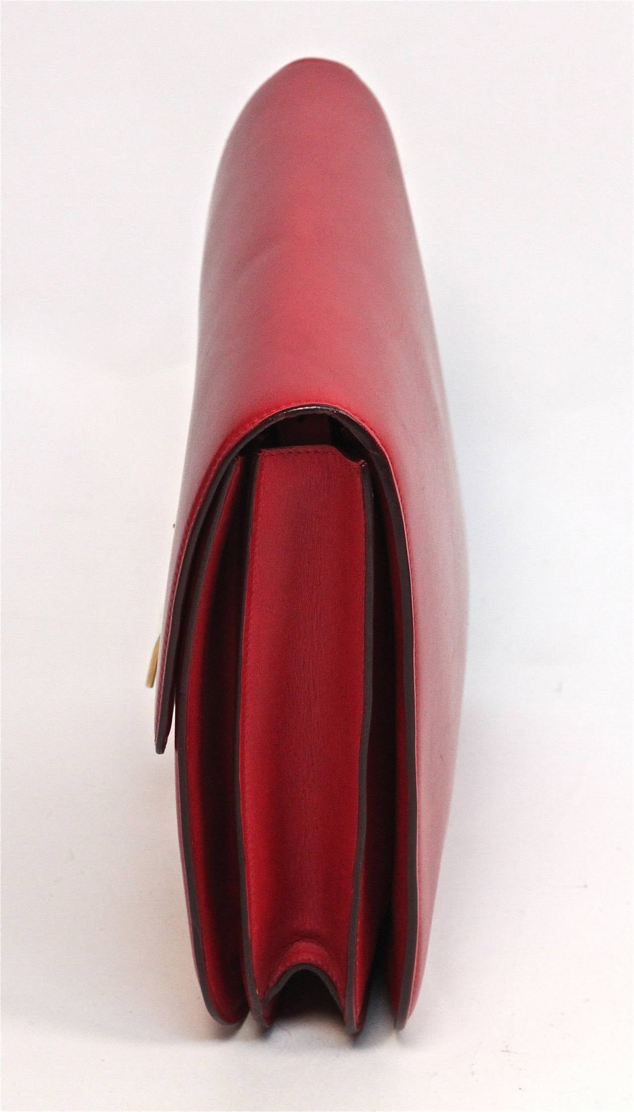 Red Celine large red classic box leather bag with convertible strap  For Sale