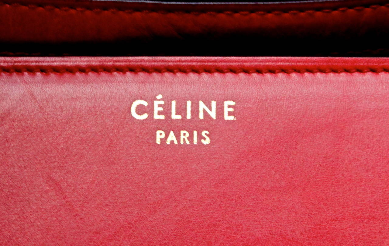 Celine large red classic box leather bag with convertible strap  For Sale 1